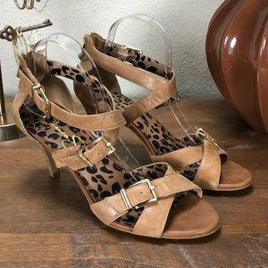 Jessica Simpson Tan Rustic Leather Heeled Sandals